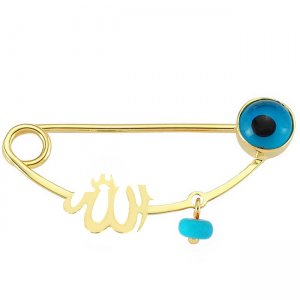 14K Solid Gold Modern Design Evil Eye Arabic Allah Writen Turquoise Brooch