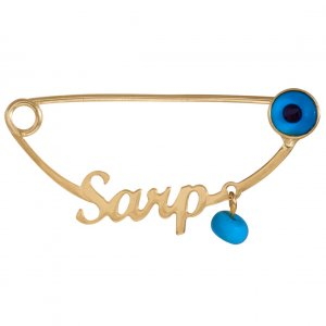 14K Solid Gold Modern Design Name Evil Eye Turquoise Brooch