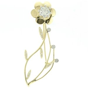 14K Solid Gold Flower Cubic Zirconia Brooch