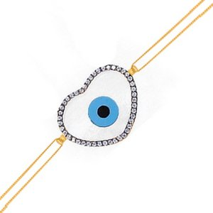 14K Solid Gold Evil Eye Heart Cubic Zirconia Bracelet