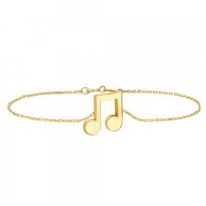 14K Solid Gold Modern Design Note Bracelet