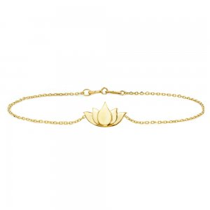 14K Solid Gold Modern Design Flower Lotus Bracelet