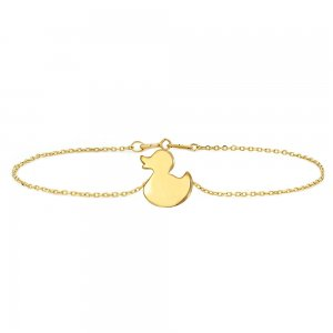 14K Solid Gold Modern Design Duck Bracelet