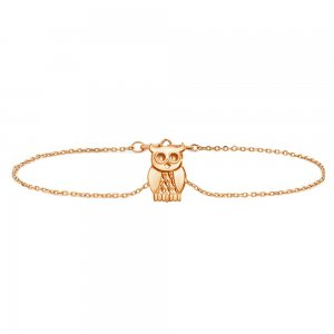 14K Solid Gold Modern Design Bird Owl Bracelet