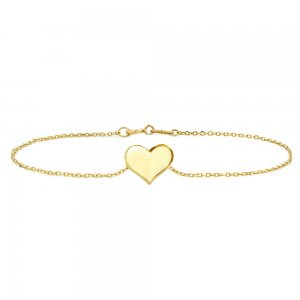 14K Solid Gold Modern Design Heart Bracelet