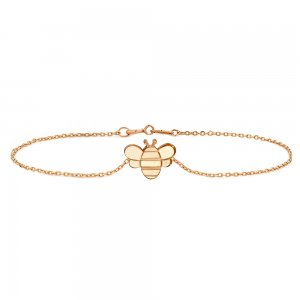 14K Solid Gold Modern Design Bee Bracelet