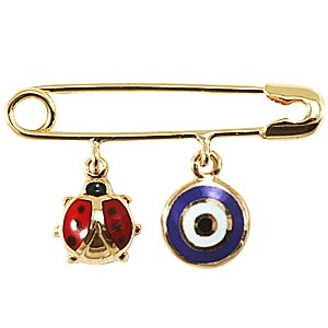 14K Solid Gold Enamel Evil Eye Ladybug Brooch