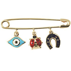 14K Solid Gold Enamel Evil Eye Horseshoe Ladybug Brooch