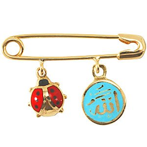 14K Solid Gold Enamel Arabic Allah Writen Ladybug Brooch