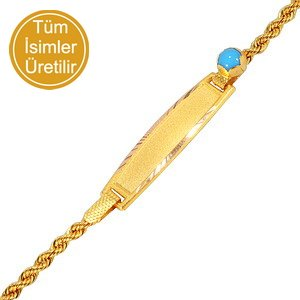 14K Solid Gold Name Evil Eye Medallion Turquoise Bracelet
