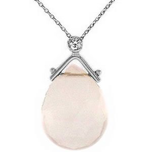 0.02ct. Diamond 14K Solid Gold Rose Quartz Necklace
