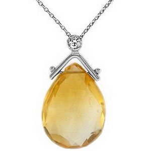 0.02ct. Diamond 14K Solid Gold Citrine Necklace