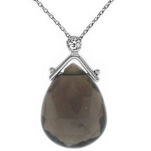 0.02ct. Diamond 14K Solid Gold Smoky Quartz Necklace