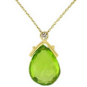 0.02ct. Diamond 14K Solid Gold Peridot Necklace