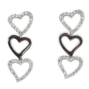 14K Solid Gold Drop Dangle Heart Cubic Zirconia Earring