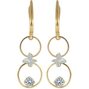 14K Solid Gold Drop Dangle Cubic Zirconia Earring