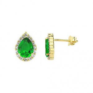 14K Solid Gold Halo Cubic Zirconia Earring