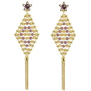 18K Solid Gold Drop Dangle Cubic Zirconia Earring