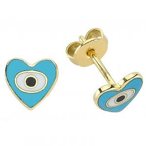 14K Solid Gold Enamel Heart Evil Eye Earring