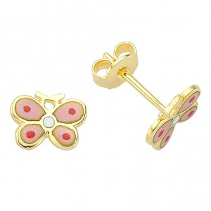14K Solid Gold Enamel Butterfly Earring
