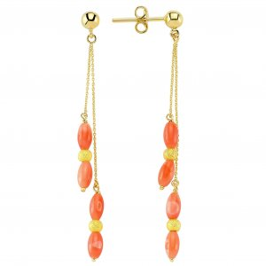 14K Solid Gold Drop Dangle Coral Earring