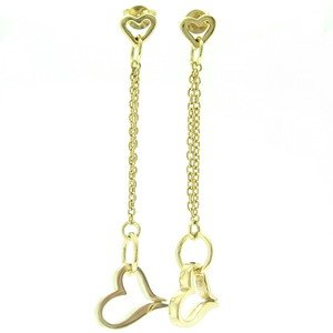 14K Solid Gold Drop Dangle Heart Earring