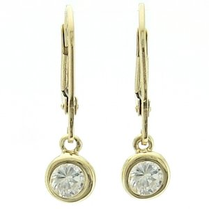 14K Solid Gold Solitaire Drop Dangle Cubic Zirconia Earring