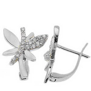 14K Solid Gold Dragonfly Cubic Zirconia Earring