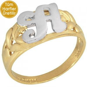 14K Solid Gold Initial Ring