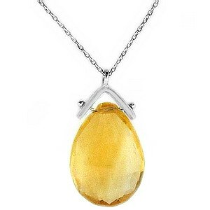 14K Solid Gold Modern Design Citrine Necklace
