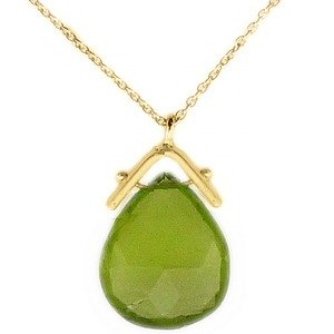 14K Solid Gold Modern Design Peridot Necklace