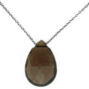 14K Solid Gold Modern Design Smoky Quartz Necklace