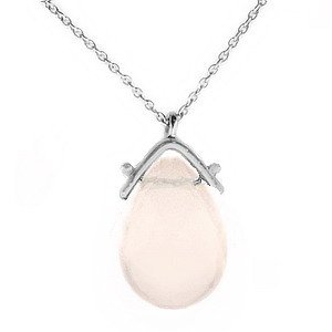 14K Solid Gold Modern Design Rose Quartz Necklace
