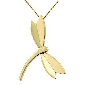 14K Solid Gold Dragonfly Necklace