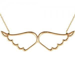 14K Solid Gold Angel Wing Necklace