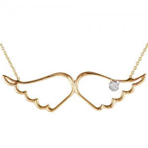 14K Solid Gold Angel Wing Cubic Zirconia Necklace