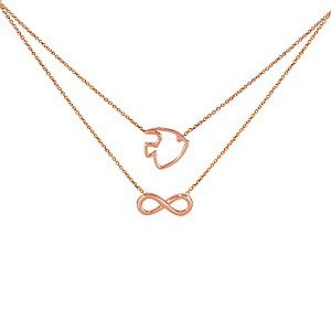 14K Solid Gold Infinity Fish Necklace