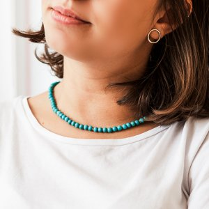 14K Solid Gold Modern Design Turquoise Necklace