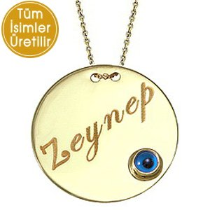 14K Solid Gold Name Evil Eye Locket Medallion Necklace