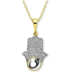 14K Solid Gold Hamsa Palm Vav Cubic Zirconia Necklace