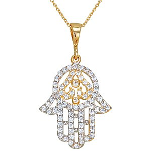 14K Solid Gold Hamsa Palm Cubic Zirconia Necklace