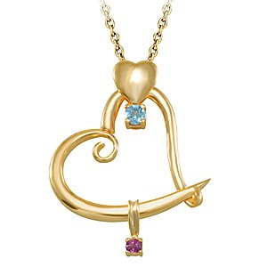 14K Solid Gold Heart Rhodolite Necklace