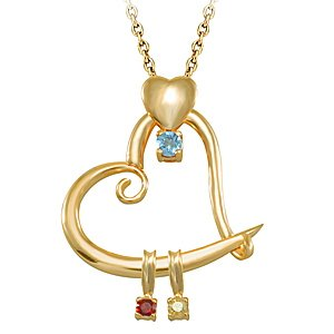 14K Solid Gold Heart Aquamarine Necklace