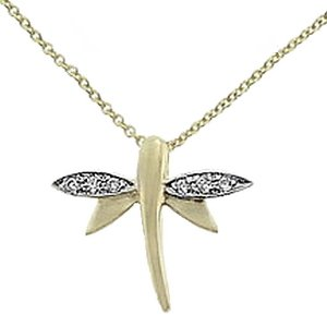 14K Solid Gold Dragonfly Cubic Zirconia Necklace