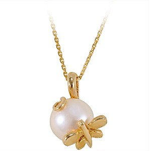 14K Solid Gold Dragonfly Pearl Necklace