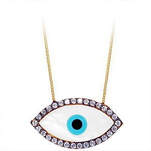 14K Solid Gold Evil Eye Cubic Zirconia Necklace