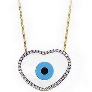14K Solid Gold Heart Evil Eye Cubic Zirconia Necklace