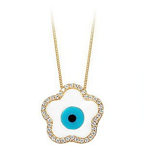 14K Solid Gold Evil Eye Daisy Cubic Zirconia Necklace