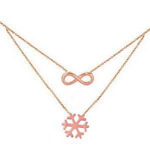 14K Solid Gold Snow Flake Infinity Necklace
