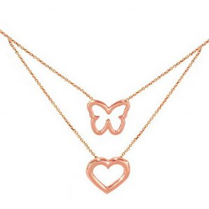 14K Solid Gold Heart Butterfly Necklace